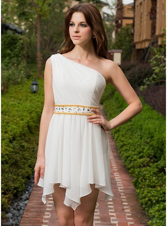A-Line/Princess One-Shoulder Asymmetrical Chiffon Homecoming Dress With Ruffle Beading