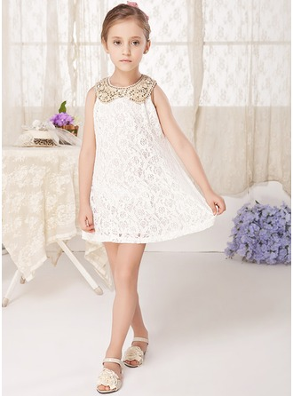 A-Line/Princess Short/Mini Flower Girl Dress - Polyester/Cotton Sleeveless Peter Pan Collar With Lace/Sequins/Bow(s)