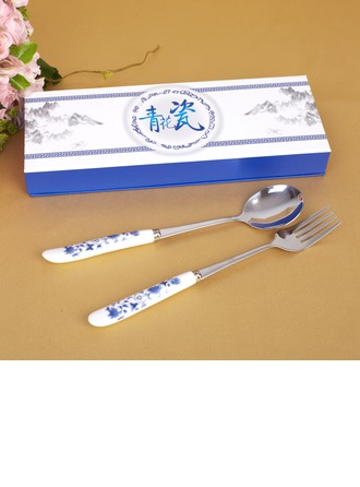 Blue-and-white Ceramics Design Stainless Steel Spoon And Fork Set
