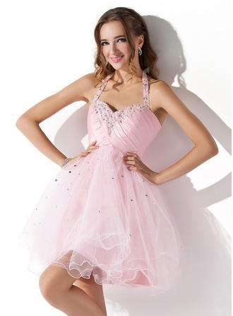 A-Line/Princess Halter Short/Mini Tulle Homecoming Dress With Ruffle Beading Sequins