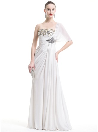 A-Line/Princess One-Shoulder Floor-Length Chiffon Evening Dress With Ruffle Lace Beading Sequins