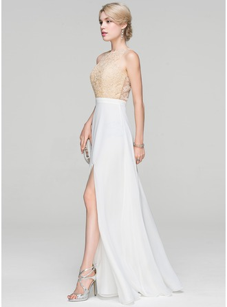A-Line/Princess Scoop Neck Floor-Length Chiffon Evening Dress With Split Front