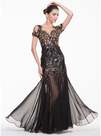 Trumpet/Mermaid Scoop Neck Floor-Length Tulle Lace Evening Dress With Sequins