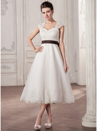 A-Line/Princess Sweetheart Tea-Length Satin Tulle Lace Wedding Dress With Sash Bow(s)