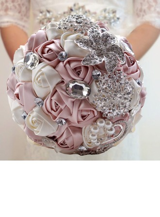 Fascinating Round Satin Bridal Bouquets