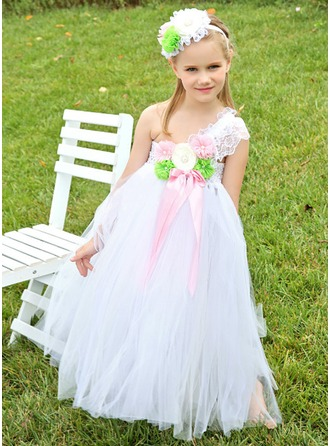 Empire One-Shoulder Floor-Length Tulle Flower Girl Dress With Lace Beading Flower(s) Sequins Bow(s)