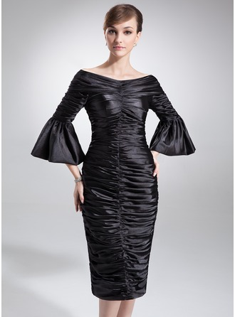 Sheath/Column Off-the-Shoulder Knee-Length Charmeuse Mother of the Bride Dress With Ruffle