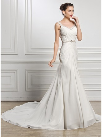 Trumpet/Mermaid Sweetheart Chapel Train Chiffon Wedding Dress With Ruffle Beading Sequins