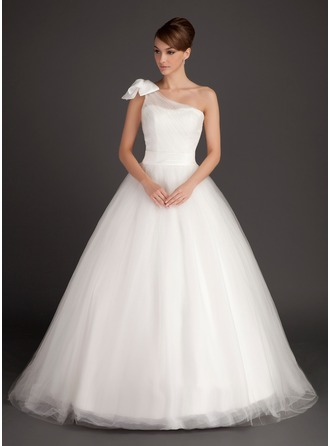 Ball-Gown One-Shoulder Sweep Train Satin Tulle Wedding Dress With Ruffle Bow(s)