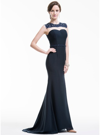 Trumpet/Mermaid Scoop Neck Sweep Train Chiffon Evening Dress With Appliques Lace
