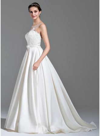 Ball-Gown Scoop Neck Sweep Train Satin Tulle Wedding Dress With Appliques Lace Bow(s)