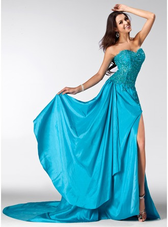A-Line/Princess Sweetheart Court Train Taffeta Tulle Lace Prom Dress With Beading Sequins Split Front