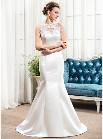 Trumpet/Mermaid Scoop Neck Sweep Train Satin Wedding Dress With Appliques Lace