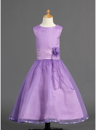 A-Line/Princess Scoop Neck Ankle-Length Organza Charmeuse Flower Girl Dress With Ruffle Flower(s)