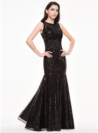 Trumpet/Mermaid Scoop Neck Floor-Length Sequined Evening Dress With Beading Flower(s)