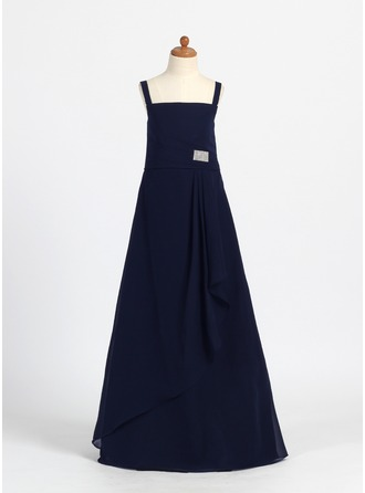 A-Line/Princess Square Neckline Floor-Length Chiffon Junior Bridesmaid Dress With Ruffle Crystal Brooch