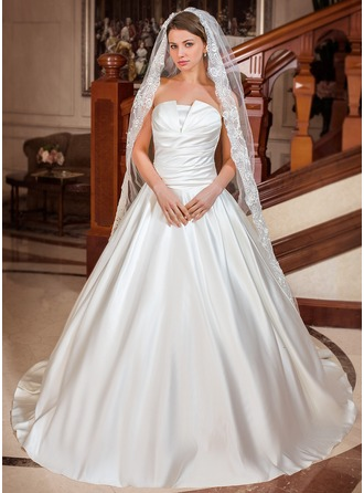 Ball-Gown Scalloped Neck Chapel Train Satin Wedding Dress With Ruffle