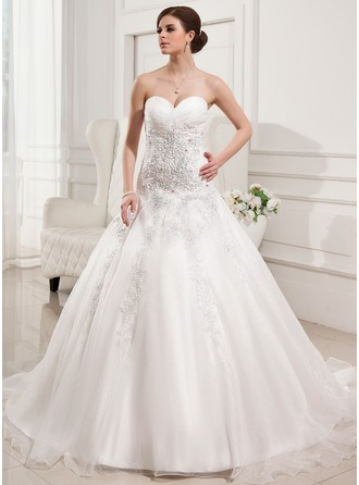 Ball-Gown Sweetheart Chapel Train Satin Organza Wedding Dress With Ruffle Lace Beading