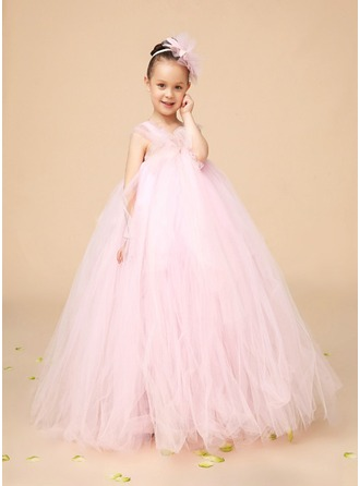 A-Line/Princess Square Neckline Floor-Length Flower Girl Dress With Crystal Brooch Bow(s)