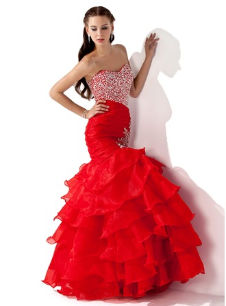 Trumpet/Mermaid Sweetheart Floor-Length Organza Satin Prom Dress With Beading Sequins Cascading Ruffles