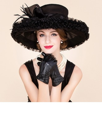 Ladies' Glamourous Organza With Feather Floppy Hat