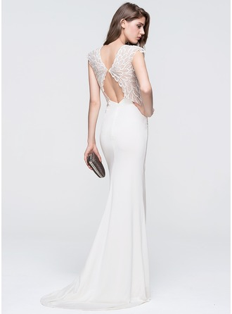 Trumpet/Mermaid Scoop Neck Sweep Train Jersey Prom Dresses With Lace