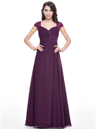 A-Line/Princess Sweetheart Floor-Length Chiffon Lace Evening Dress With Ruffle Beading Sequins