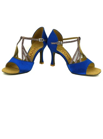 Women's Satin Heels Sandals Latin Salsa Party With Ankle Strap Hollow-out Dance Shoes