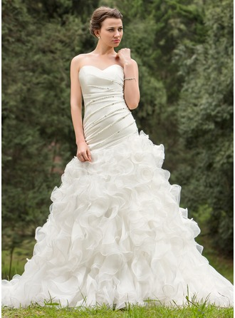 A-Line/Princess Sweetheart Chapel Train Organza Wedding Dress With Ruffle Beading Sequins Cascading Ruffles