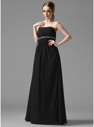 Empire Sweetheart Floor-Length Chiffon Maternity Bridesmaid Dress With Ruffle Beading