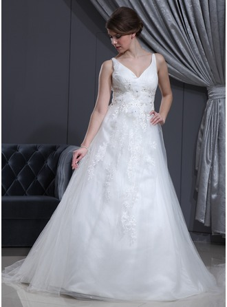A-Line/Princess V-neck Court Train Tulle Wedding Dress With Ruffle Lace Beading