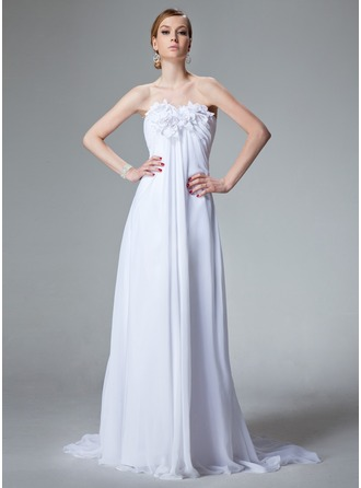 Empire Sweetheart Court Train Chiffon Wedding Dress With Ruffle Beading Flower(s)