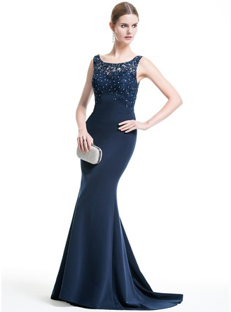 Trumpet/Mermaid Scoop Neck Sweep Train Evening Dress With Lace Beading