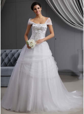 Ball-Gown Off-the-Shoulder Cathedral Train Satin Tulle Wedding Dress With Embroidered Ruffle Beading