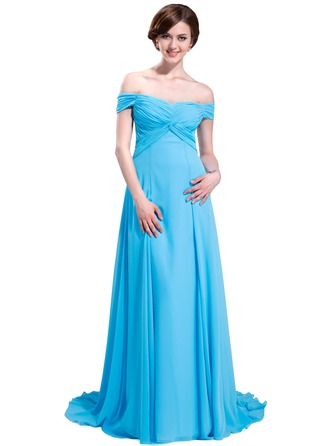 A-Line/Princess Off-the-Shoulder Sweep Train Chiffon Evening Dress With Ruffle