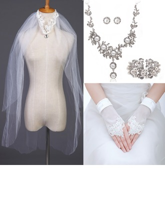 Exquisite Alloy/Pearl/Rhinestones/Tulle Ladies' Accessory Sets(Including Veil,Necklace,Earring,Bracelet,Glove)