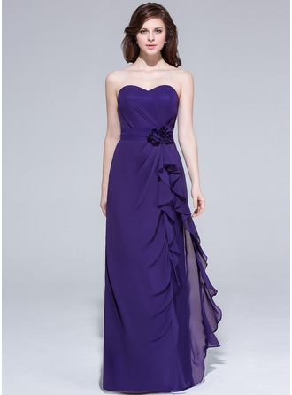 Sheath/Column Sweetheart Floor-Length Chiffon Bridesmaid Dress With Flower(s) Cascading Ruffles
