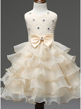 Ball Gown Ankle-length Flower Girl Dress - Cotton Blends Sleeveless Scoop Neck With Ruffles/Bow(s)/Rhinestone