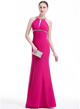 Trumpet/Mermaid Scoop Neck Floor-Length Chiffon Evening Dress With Beading Sequins