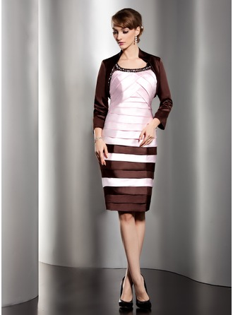 Sheath/Column Scoop Neck Knee-Length Satin Mother of the Bride Dress With Ruffle Beading