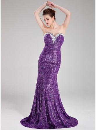 Trumpet/Mermaid Sweetheart Sweep Train Sequined Prom Dress With Beading