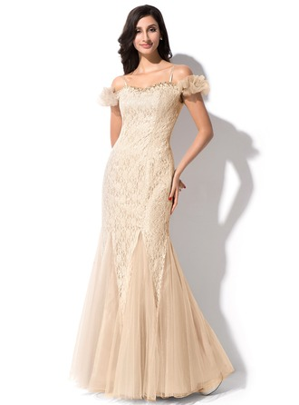 Trumpet/Mermaid Off-the-Shoulder Floor-Length Lace Evening Dress With Beading Sequins