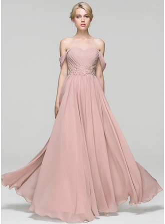 A-Line/Princess Off-the-Shoulder Floor-Length Chiffon Evening Dress With Ruffle Lace Beading