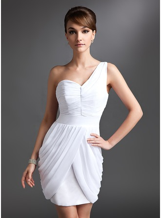 Sheath/Column One-Shoulder Short/Mini Chiffon Cocktail Dress With Ruffle