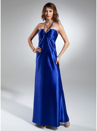 Empire Halter Floor-Length Charmeuse Holiday Dress With Ruffle Beading