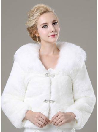 Lange Mouw Faux Fur Mode Wrap