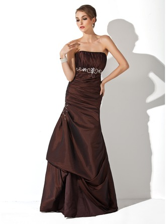 Trumpet/Mermaid Strapless Floor-Length Taffeta Bridesmaid Dress With Ruffle Beading