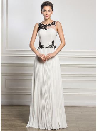 A-Line/Princess Scoop Neck Floor-Length Chiffon Tulle Evening Dress With Appliques Lace Pleated