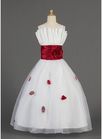A-Line/Princess Scalloped Neck Floor-Length Charmeuse Organza Flower Girl Dress With Ruffle Sash Flower(s) Bow(s)