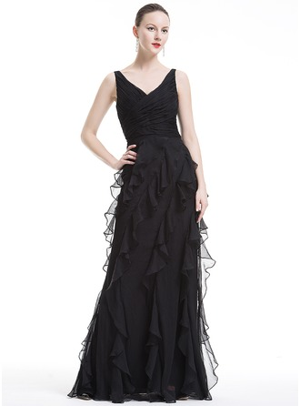 A-Line/Princess V-neck Floor-Length Holiday Dress With Cascading Ruffles